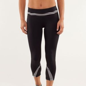 Rare Lululemon Black Strip inspired Crop Leggings